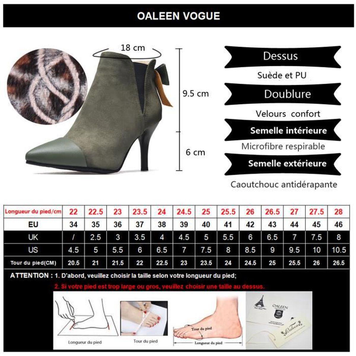 Oaleen Bottines fourrées femme bout pointu nœud suède talon aiguille chaussures boots hiver beige 45 o57gZP