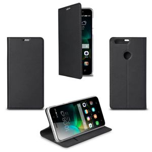 SWISS CHARGER Etui folio case/stand transparent pour Honor 8 noir