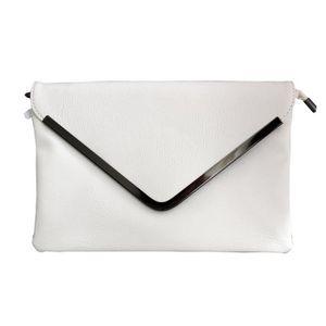 6dd105374e POCHETTE Petite pochette de soirée blanche enveloppe avec d ...