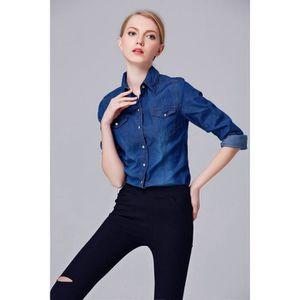 df9c8d60d 2016 chemise jeans femme automne denim manches longues slim le ...