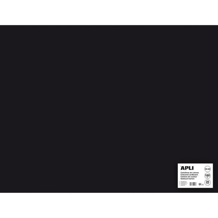 APLI Sachet de 25 feuilles de carton - Noir