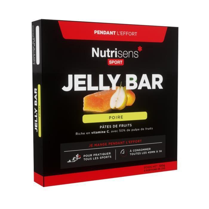 NUTRISENS Complément alimentaire - Etui de 4 barres énergétiques de pâte de fruit de 25g JellyBar - Poire