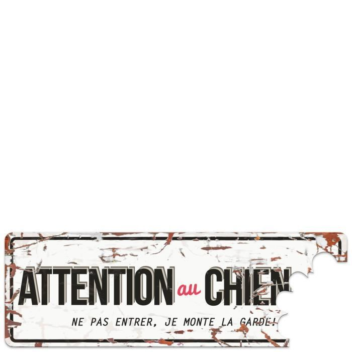 D&D Plaque Attention Chien Beware of the Dog - Blanc / Rouge