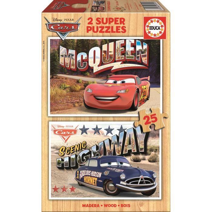 CARS Puzzle en Bois 2x25 Pièces - Garçon - A partir de 3 ans - Livré à l'unitéPUZZLE