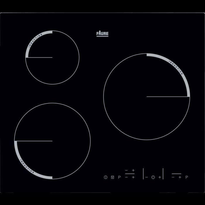 FAURE FEL6633FBA - Table de cuisson induction - 3 zones -7200W - L56 x P49cm - Noir