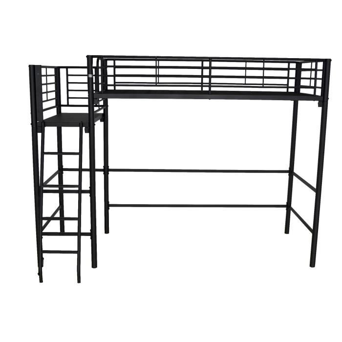 alexy lit mezzanine avec plate forme 90x200cm noir argent achat vente lit mezzanine alexy. Black Bedroom Furniture Sets. Home Design Ideas