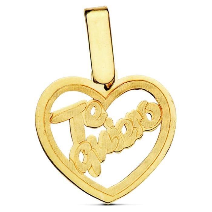 Pendentif 18k coeur dor vous aimez 14mm. [AB2869]