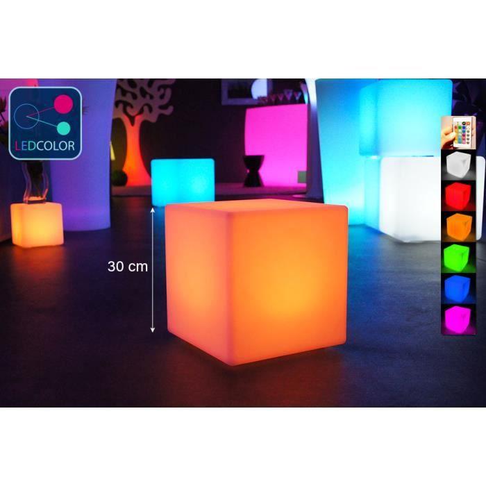 Cube Lumineux 30 Cm, Led Multicolore, Sans Fil Avec Télécommande