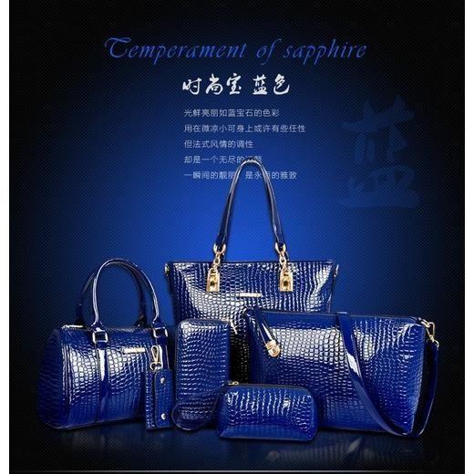 sac à main bleuet six couvertures grand crocodile mère costume épaule main no.681