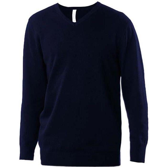 pull bleu marine pour homme col en v k965 marque coton 50 acrylique coupe ajust e. Black Bedroom Furniture Sets. Home Design Ideas