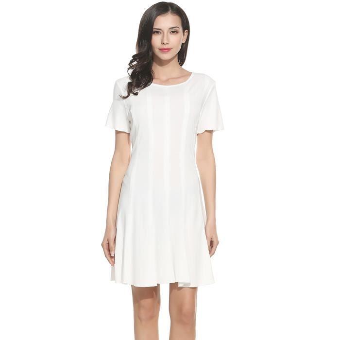 robe plissée femmes Casual manches courtes col O solides élastiques