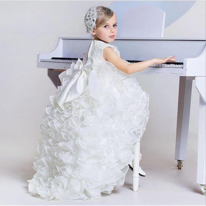 9e4fbfd674b51 GLAM® White Princess Dresses Girls Piano Performance Vêtements Robes de  soirée d anniversaire Enfants Long Train Robes de mariée