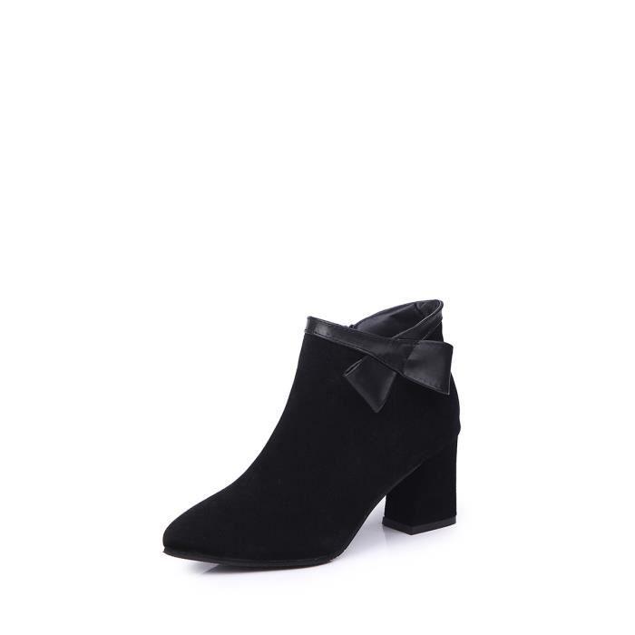 Bottes de cheville de femmes de couleur unie Bow patchées bout pointu élégant Chaussures sélectionl 11495662