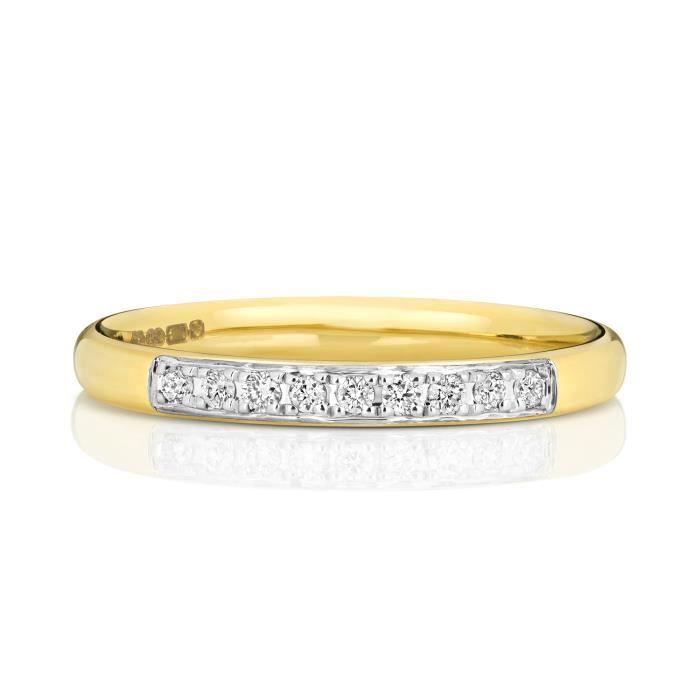 Bague de Mariage-Alliance Femme Semi Pavée 2,2mm Or 375-1000 et Diamant Brillant 0.06 Carat GH - SI3-I1 31109