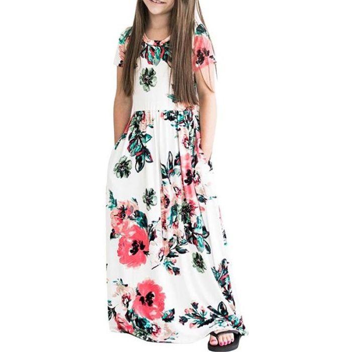 70e7d78397b49 Robe Longue Fille Manches Courte Été Imprimé Fleur Robe Enfant Fille ...