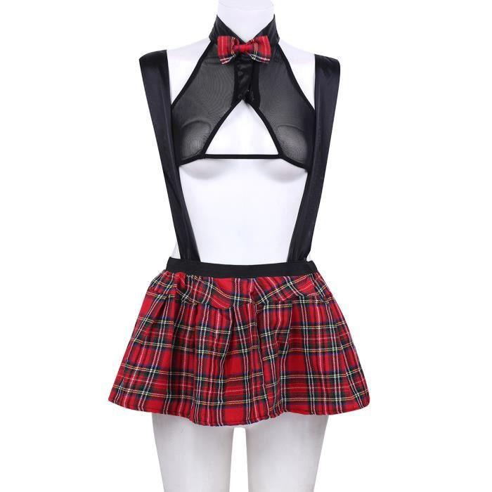 3835103f91286d Pyjama sexy femme - écolière à carreaux Halloween boîte de nuit fête jeu de  rôle