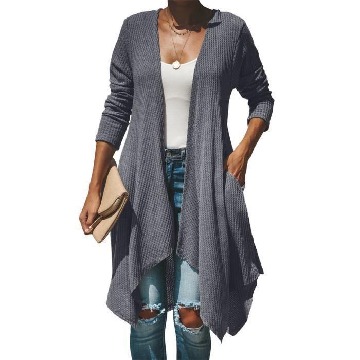 Longues lnp81102361gy Avant Casual Tops Ouverts Manches Drapées gris Cardigans Femmes qEaxfR8