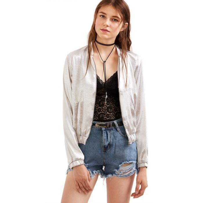 Rue D'argent Femmes Zipper De Cool Veste Manteau Jacket q5XwTPnUx