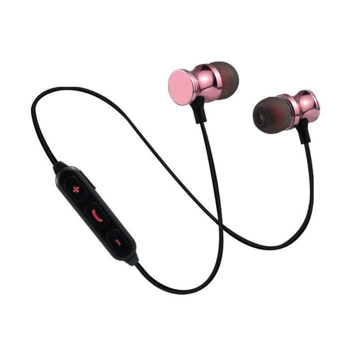 Oem - Ecouteurs Bluetooth Metal Pour Huawei Mate 20 Lite Smartphone Sans Fil Telecommande Son Main Libre I Couleur:rose