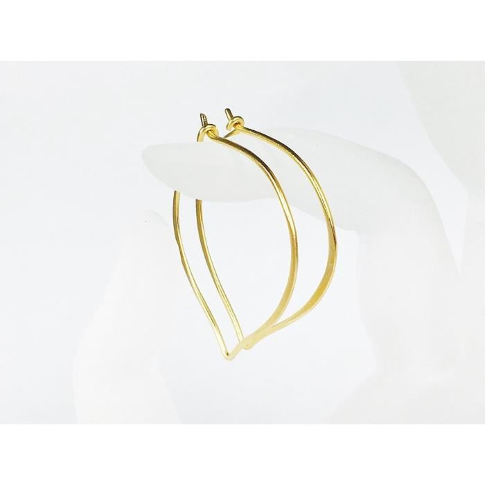 Womens Gold Hoop Ear Wires, Vermeil Earrings, Two Inches HIX1I