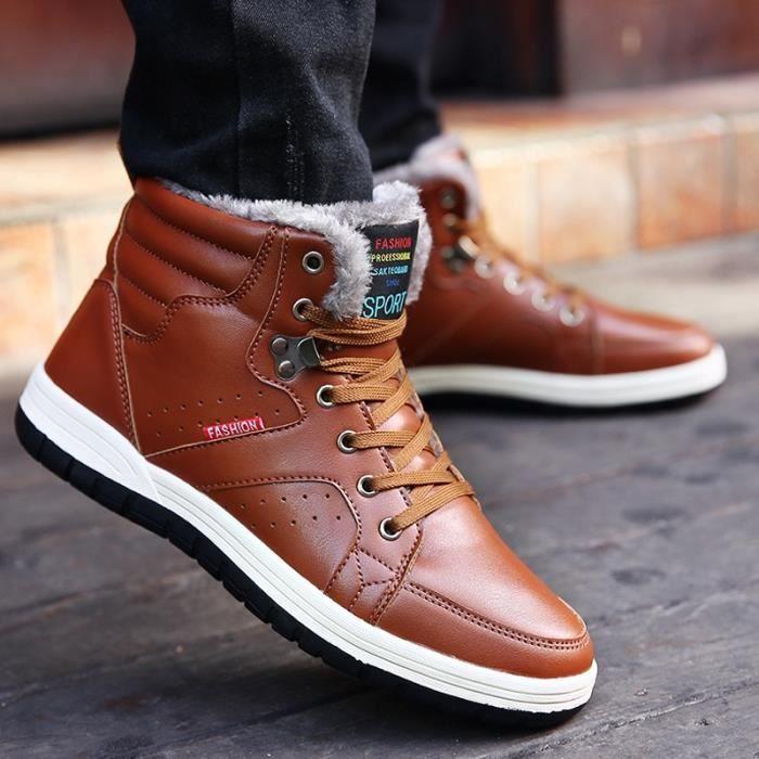 en air Chaussures cuir plein Bottes chaud de grands antidérapante neige en Hommes souple fwSqTSp