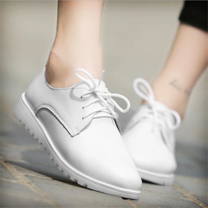 Chaussures Femmes Cuir Occasionnelles Comfortable Chaussure CHT-XZ042Blanc40