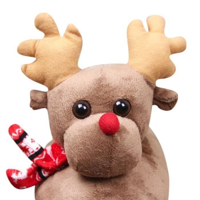 Pantoufles Femmes Hommes en peluche Hiver Cerf de Noël Adulte Chaussons doux et chauds Populaire WYS-XZ140Marron36 jiDVU0