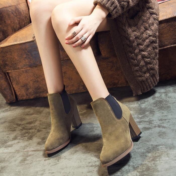 Chaussures Knot Cheville Automne Bottillons Talon Lhb4934 Abkle Carré D'hiver Haut Hiver Bottes B8q1zX