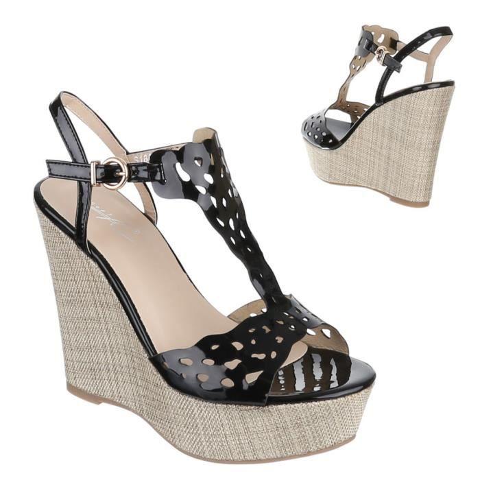 Femme chaussures sandales Slipper ballerines noir 40