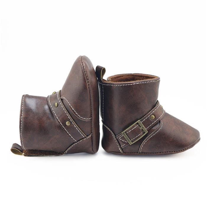 Toddler nouveau-né bébé garçon fille botte bottes semelle souple bottes Prewalker chaussures chaudes café2LAO-099