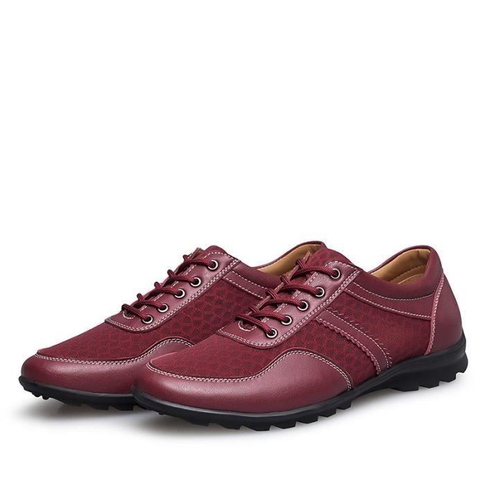 Mode Hommes Mocassins en cuir véritable Chaussures Printemps - Été Mesh Hommes Chaussures Hommes Casual Flats Oxford transpirant FmKGBHsqm