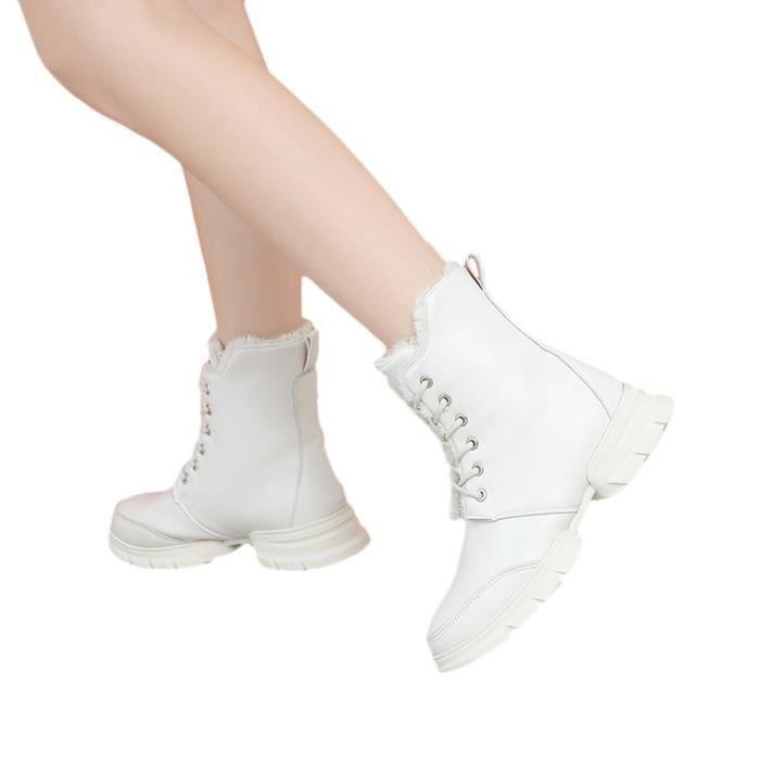 Casual Solid Courtes Plat Color Veberge Gardez Bottes Cuir Neige Chaussures En Femmes Chaudes 1957 nHaTpS