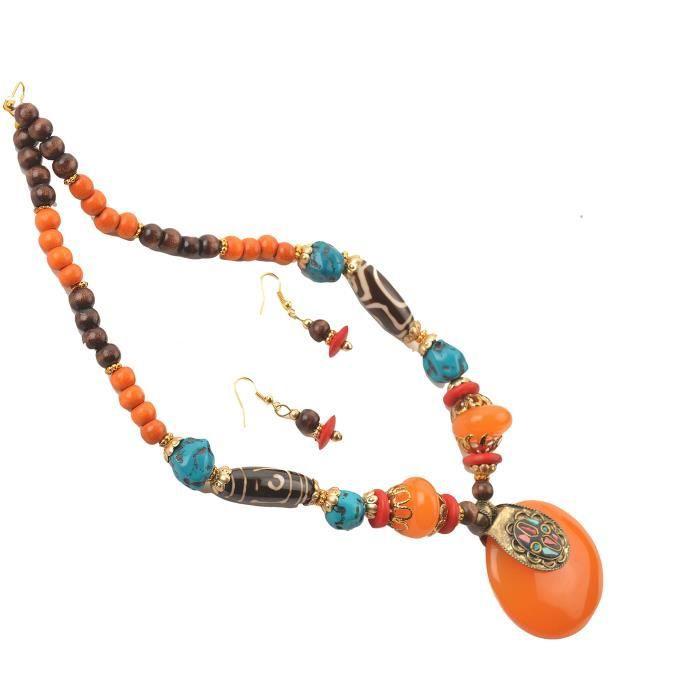Femmes collier pendentif en pierre Dzi Perles boucles doreilles pourF8JB7