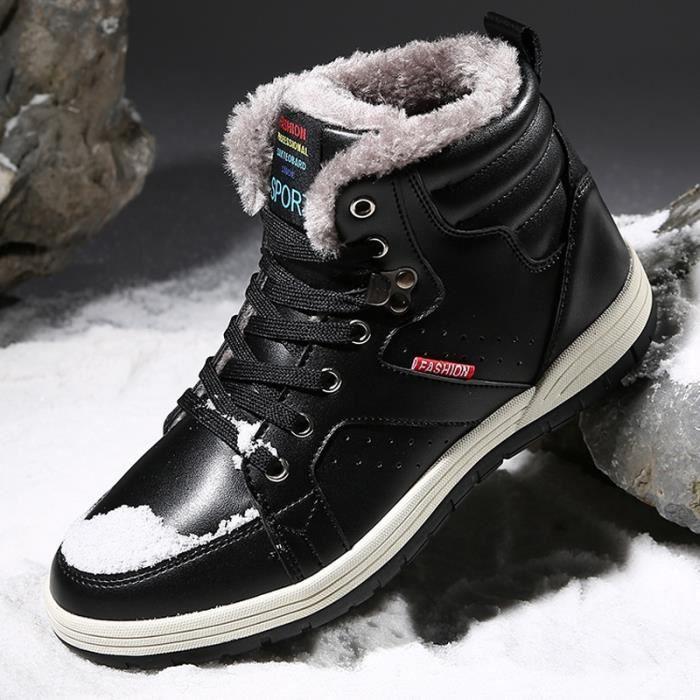 grands Hommes Bottes en cuir en de Chaussures antidérapante chaud plein souple air neige fpqw5dKx