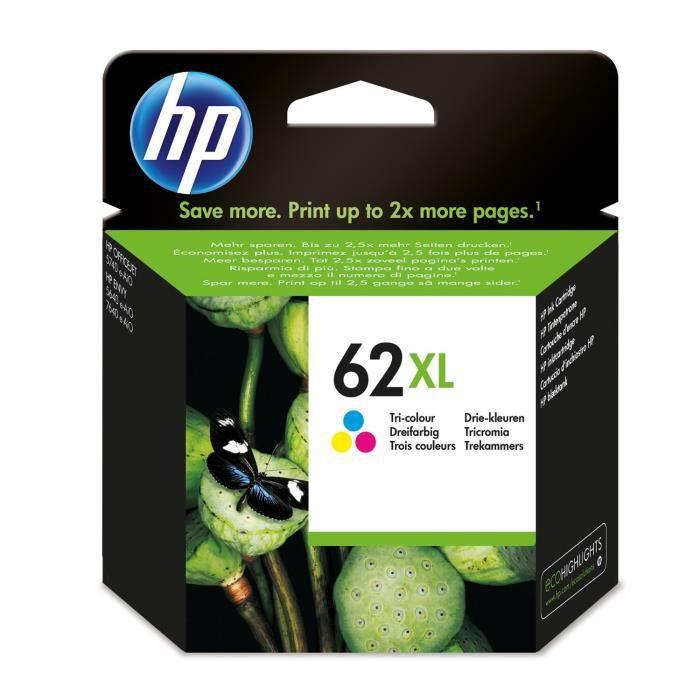 HP 62XL cartouche d'encre trois couleurs grande capacité authentique pour HP Envy 5540/5640/7640 (C2P07AE)