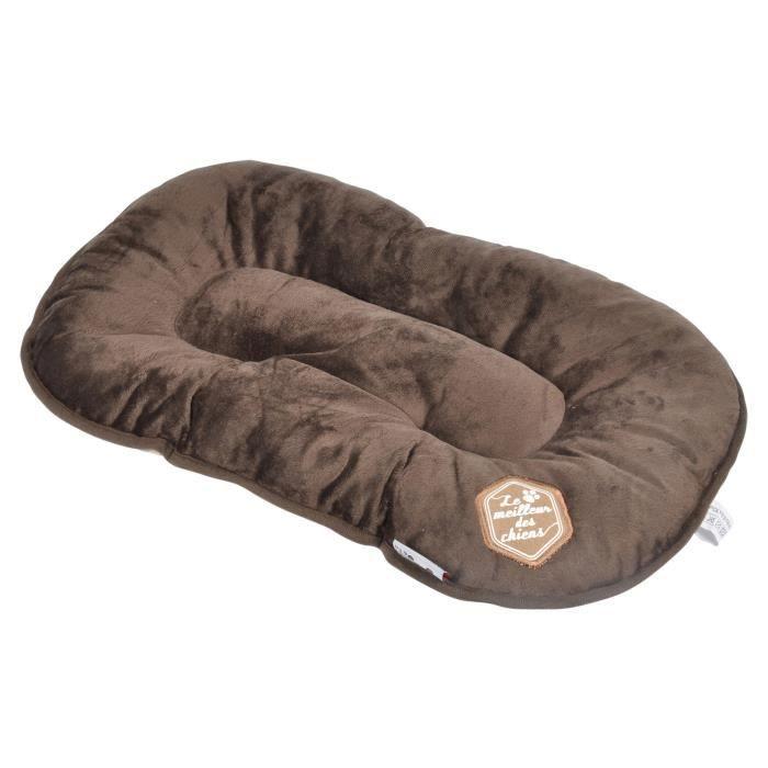 Couverture en tissu - Dimensions : L107xl62xH7 cm - Coloris : chocolat et taupe - Pour chien.CORBEILLE - PANIER - COUSSIN - HAMAC - LIT