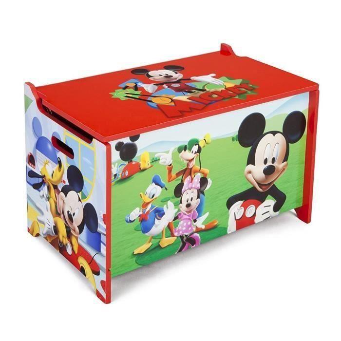 MICKEY - Coffre à Jouets Enfant en Bois - Rouge et Multicolore