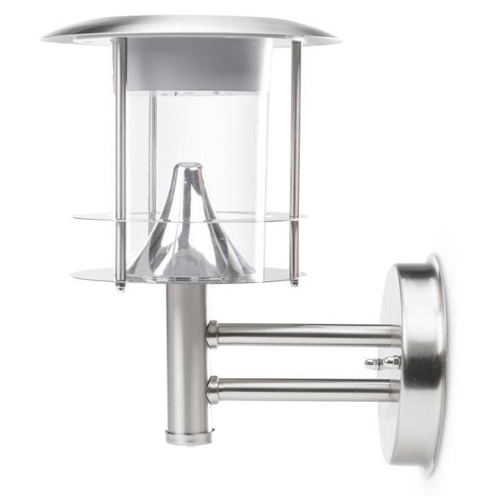 En inox - IP44 - 100 lumens - Type de capteur : PIR/Mouvement/Crépusculaire - Couleur ampoule : blanc chaud.LAMPADAIRE DE JARDIN - LAMPE DE JARDIN