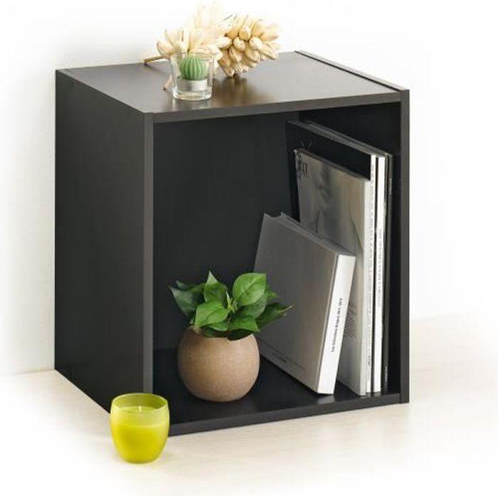 homea cube de rangement avec 1 niche 34 4x34 4x29 5 cm noir. Black Bedroom Furniture Sets. Home Design Ideas