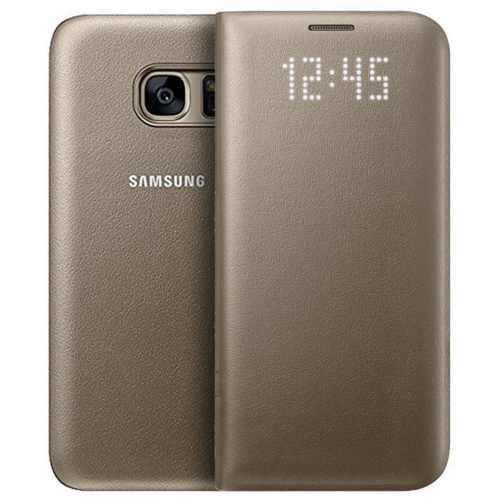 Etui LED Samsung pour Samsung Galaxy S7. Fabrique avec un revetement imitiant le cuir, cette housse moderne protege integralement votre mobile tout en affichant les infos utiles sur le clapet. Dispose d'une fente pour carte et la fonction smart sleep.HOUS
