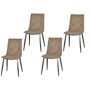 GLASGOW Lot de 4 chaises de salle ? manger pieds métal noir - Simili taupe - Style contemporain - L 46 x P 65 cm