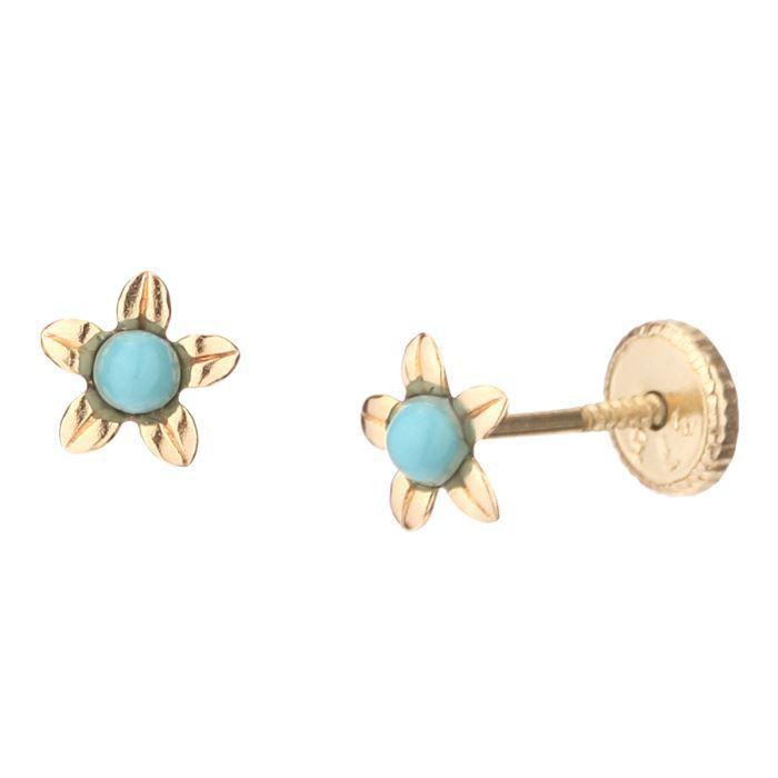 YSORA - Boucles D'Oreilles Fleur Corail à Vis en Or Jaune - Enfant