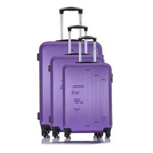 LES P'TITES BOMBES Set de 3 Valises Rigide ABS 4 Roues 50-60-69cm ANGEL Violet