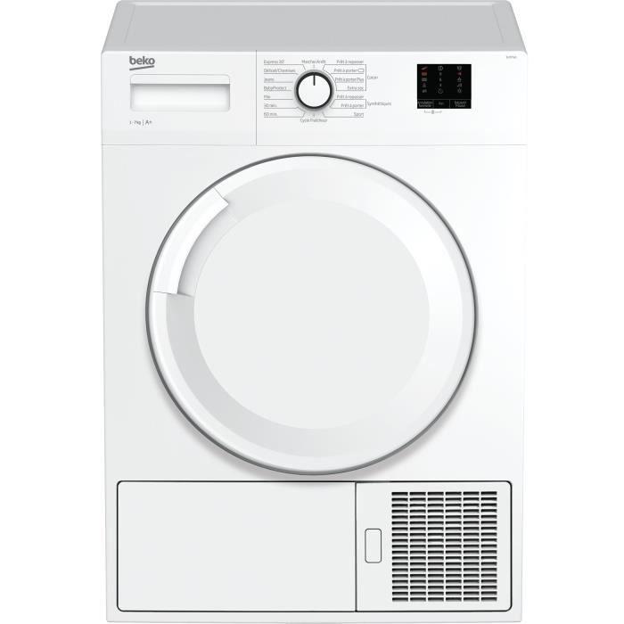 Frontal-7 kg-Pompe à chaleur-A+-Blanc-Tambour Aquawave-Paroi anti vibrations-Départ différé 3-6-9hSECHE-LINGE