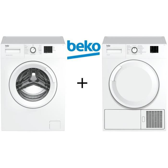 PACK lavage BEKO - Lave linge frontal-7 kg-1200 tours + Sèche linge frontal-7 kg-Pompe à chaleur