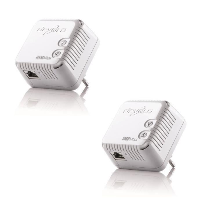 Pack de 2 x DEVOLO 9077 dLAN 500 WiFi, Prise réseau CPL Wi-Fi 500 Mbit/s, 2 ports Fast Ethernet, Module complémentaire (x1)