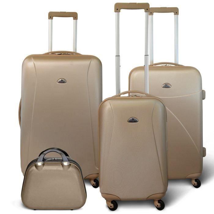 SET DE VALISES KINSTON Set 3 valises 4 roues + Vanity Beige