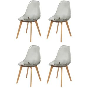 CHAISE BROOKLIN Lot de 4 chaises de salle à manger gris -