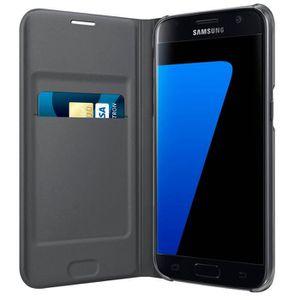 COQUE - BUMPER Samsung Etui Flip Wallet S7 - Noir