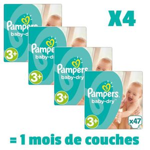COUCHE PAMPERS BABY DRY Taille 3+ - 188 couches - Pack 1